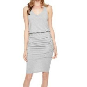 SPLENDID Gray Stretchy Ruched Cinched Waist Dress